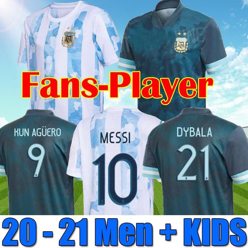 20 21 الأرجنتين كرة القدم جيرسي المشجعين واللاعبين نسخة 2021 كوبا أمريكا ميسي dybala أجويرو لكرة القدم قميص الرجال + أطفال مجموعات مجموعات الزي الرسمي