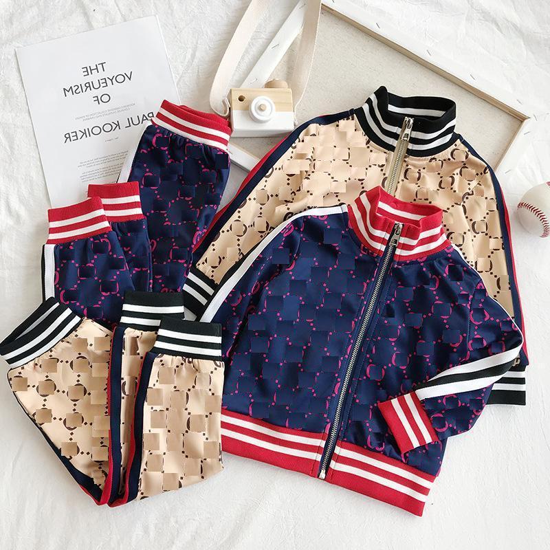 Kinder Designer Kleidung Sets New Luxury Print Tracksuits Mode Brief Jacken + Jogger Casual Sports Stil Sweatshirt Jungen Mädchen