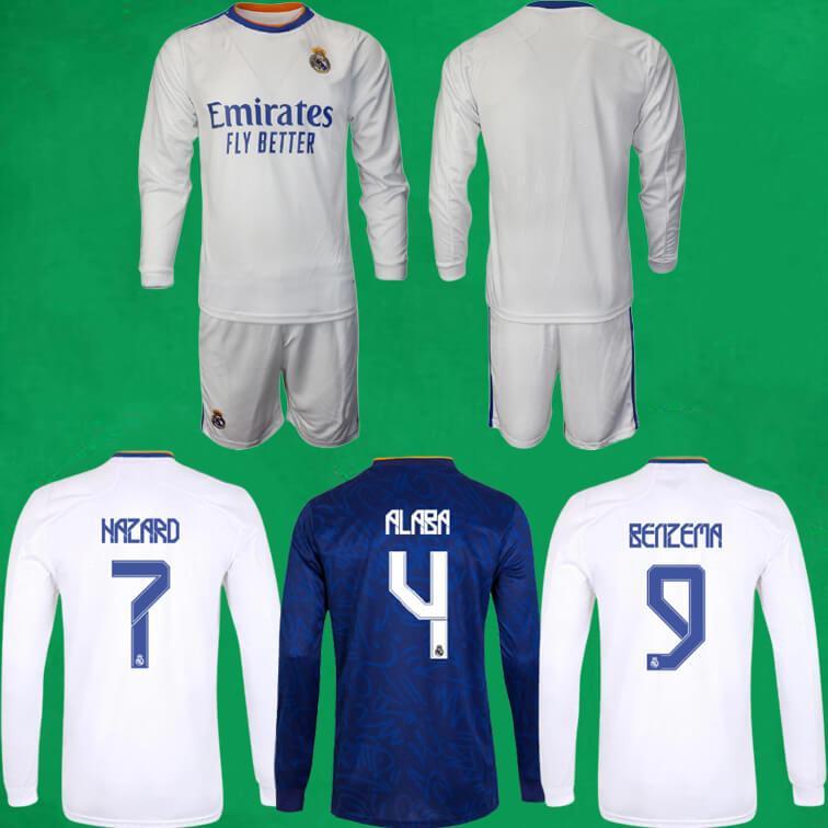 21 22 Echte Madrid Langarm Fussball Jersey Shorts Home Away Dritter 2021 2022 Gefahren Benzem Vinicius Alaba Football Hemden Herren Sporttraining Kits
