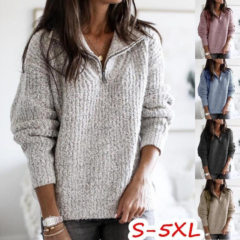 가을과 겨울 옷깃 지퍼 풀 오버 긴팔 스웨터 느슨한 캐주얼 대형 코트 플러스 사이즈 여성 의류 5xl 스웨터