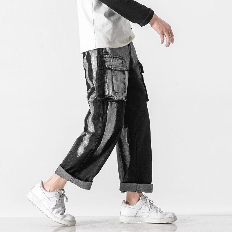 Men's Jeans Fashion Wash Retro Tie-dyed Black Baggy