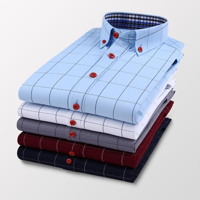 Camisa de manga larga de la camisa de manga larga del negocio de los hombres camisa de tela escocesa