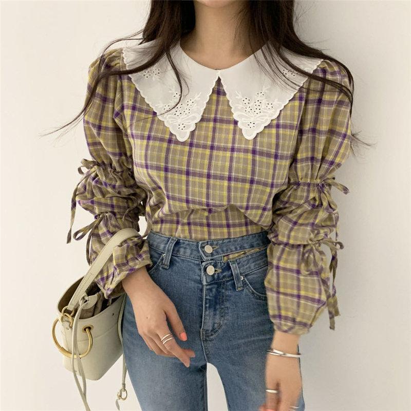 Blusas das mulheres Camiseta Alien Kitty Cintura Alta Cintura Geométrica Lace-Up 2021 Doce Todos os Jogo Chique Chique Coreano Elegância Meninas Gentis Mulheres