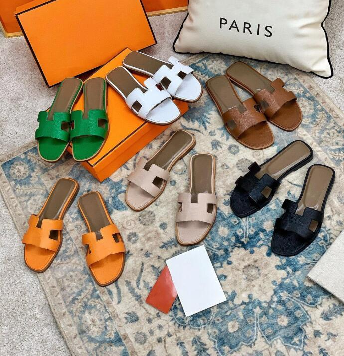 2021 diseñador de mujeres sandalias para mujer de lujo de lujo de cuero genuino H zapatillas zapatos planos zapatos de boda de fiesta de sandalia con caja 35-42