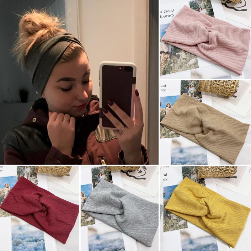 Bandeau Femme Couleur Solide Large Turban Turbu Tourcion Coton Bande à cheveux Accessoires de cheveux Turned nœudba