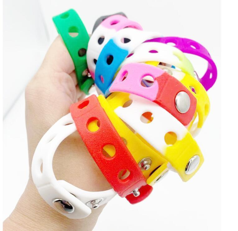 Soft Silicone Bracelet Wristband 18/21cm Fit Shoe Croc Buckle Charm Accessory Kid Party Gift Fashion Jewelry Wholesale