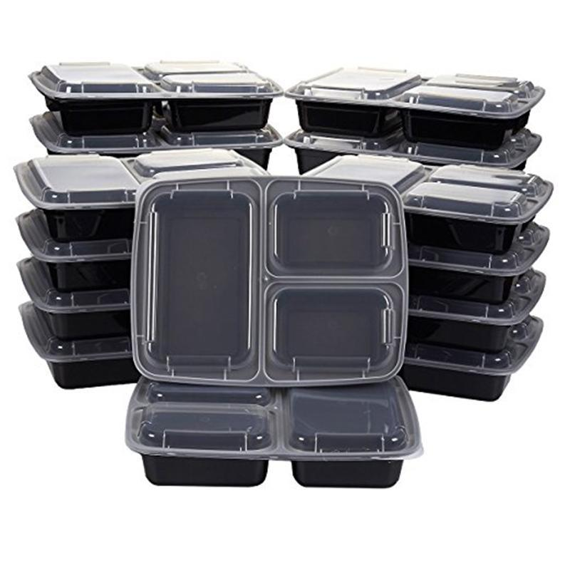 50Pcs Reusable Meal Prep Bento Box Container 3 Compartment With Lids Storage Lunch For Microwave Disposable Take Out Containers