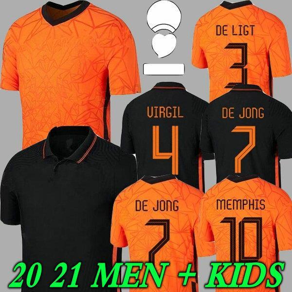 20 21 Netherlands 2020 DE LIGT Cruyff Soccer Jersey MEMPHIS Soccer Jersey Holland SNEIJDE Gullit 2021 WIJNALDUM PROMES DE JONG VIRGIL Mens Jersey Kids Kit