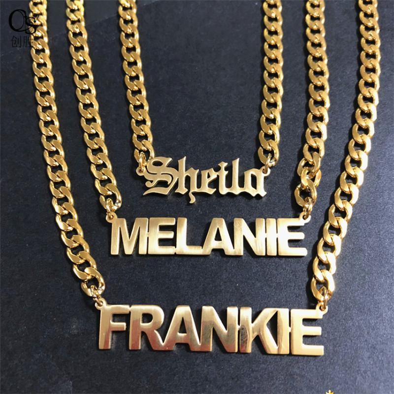 مطلية بالذهب الفولاذ المقاوم للصدأ اسم مخصص إلكتروني قلادة قلادة للنساء مجوهرات هدية للأصدقاء 130 U2
