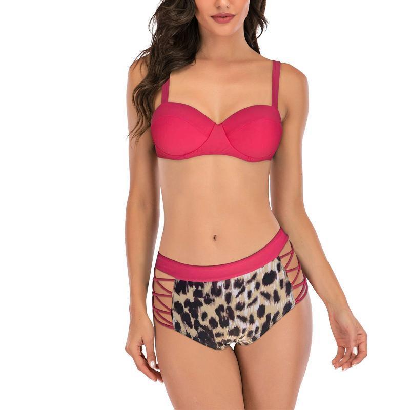 Swimwear 2pcs Swimsuits Sexy Leoparde Gedruckt Tight Bikini Tangas Baden Weibliche Sommer Strand Badeanzüge