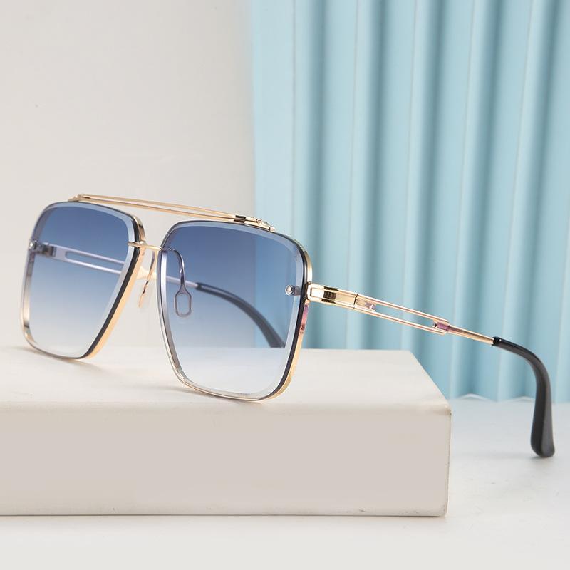 Дизайнерские Мужские Солнцезащитные очки Мужчины Очки Очки Металлические Рамки Резливые Линзы Двойной Луч Обрезка Очки Очки Мужские