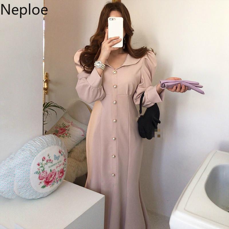 NAPOE Kore Chic Yüksek Bel Kalça Seksi Mermaid Vestido Zarif Tek Meme Tasarım Uzun Bölünmüş Elbise V Boyun Puf Kollu Ropa 210421
