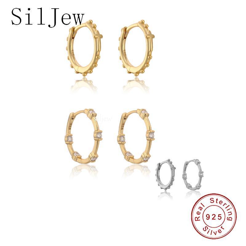 Hoop & Huggie SilJew 925 Sterling Silver 14.5mm Hoops Earring Circle Crystal CZ Zircon Piericng Ohrringe Pendiente Luxury Jewelry Fine Jewel