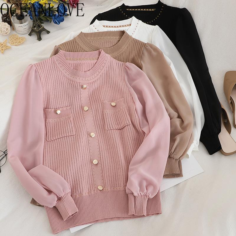 Frauenpullover Oceanlove Mode Patchwork Chiffon Pullover Student 2021 Solid Casual Frauen Button Tops Herbst Winter 13485