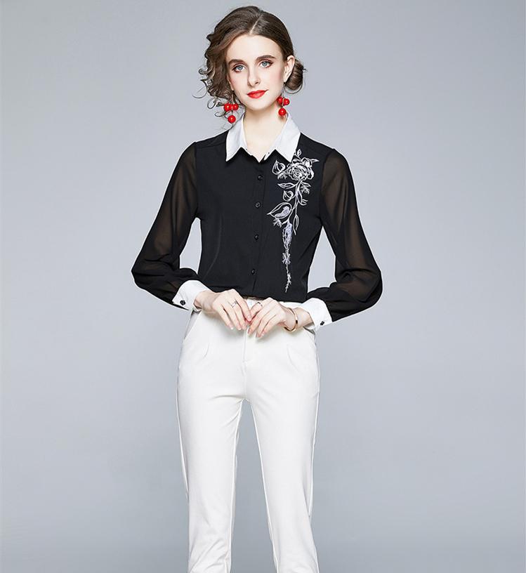 Оптом мода вышивка черные рубашки сексуальная сетка контрастность цвета женские взлетно-посадочные полосы дизайнер блузки с длинным рукавом старинные женщины тонкие офисные кнопки весной осень