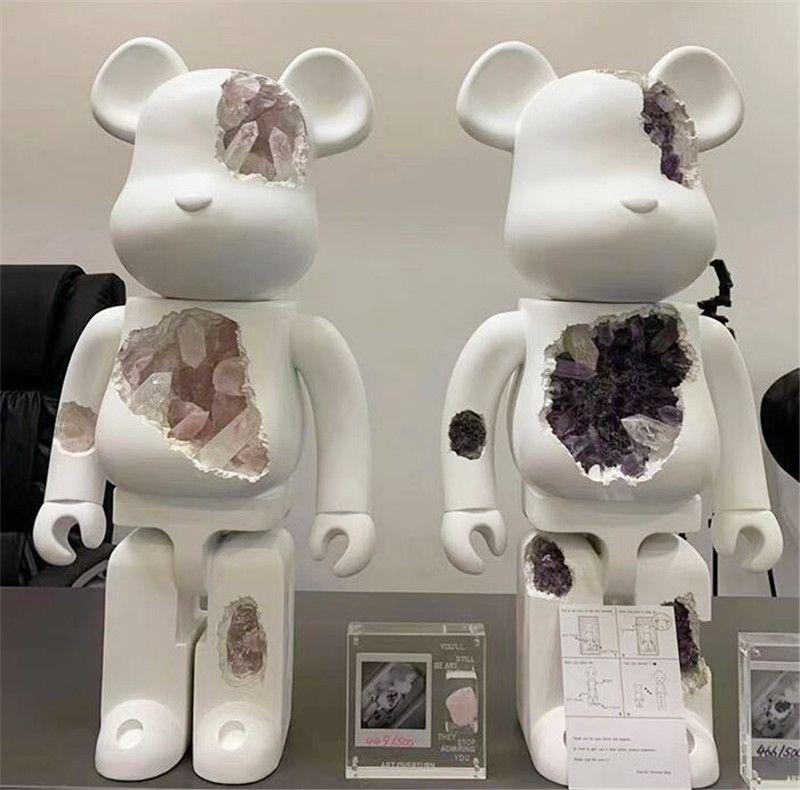 En çok satan 1000% 70 cm Bearbrick Reçine Korozyon Kristal Serisi 3 Renkler Ayı Rakamlar Oyuncak Koleksiyonerler Için @ Rbrick Sanat Çalışma Modeli Dekorasyon Hediye