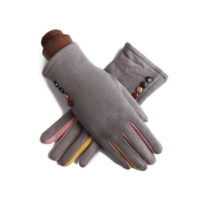 Five Fingers Guantes Mujeres Invierno Espesamiento Calor Calidez Al aire libre Multifunción Pantalla táctil Terciopelo de cuero Mujeres