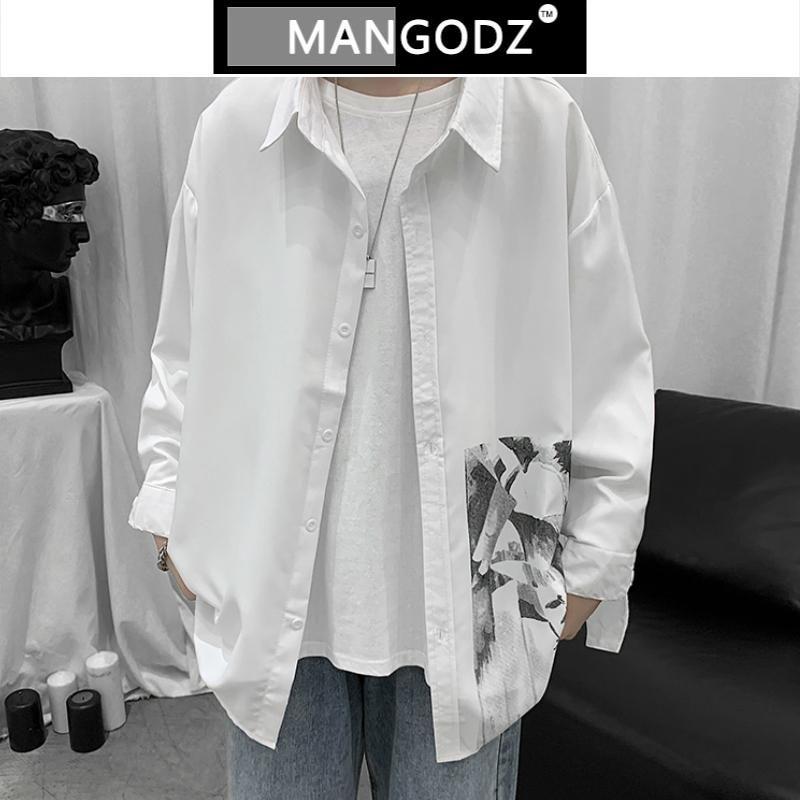 남성 캐주얼 긴 소매 셔츠 2021 봄 가을 빈티지 프린트 셔츠 고품질 남자 의류 느슨한 힙합 streetwear m-2xl