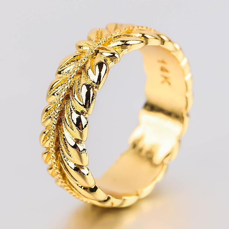 رائعة الذهب اللون الإغاثة الأذن القمح الفرقة الدائري الرجال النساء البساطة حلقات حلقات أنيقة مجوهرات هدية الكتلة