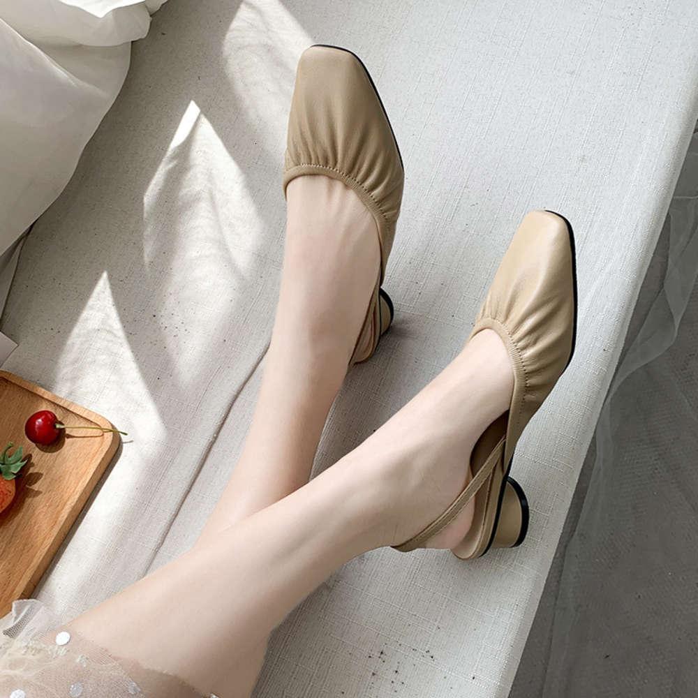 sandália verão único sapatos ol quadrado cabeça plissada grossa baotou sem calcanhar uma linha com sandálias versáteis