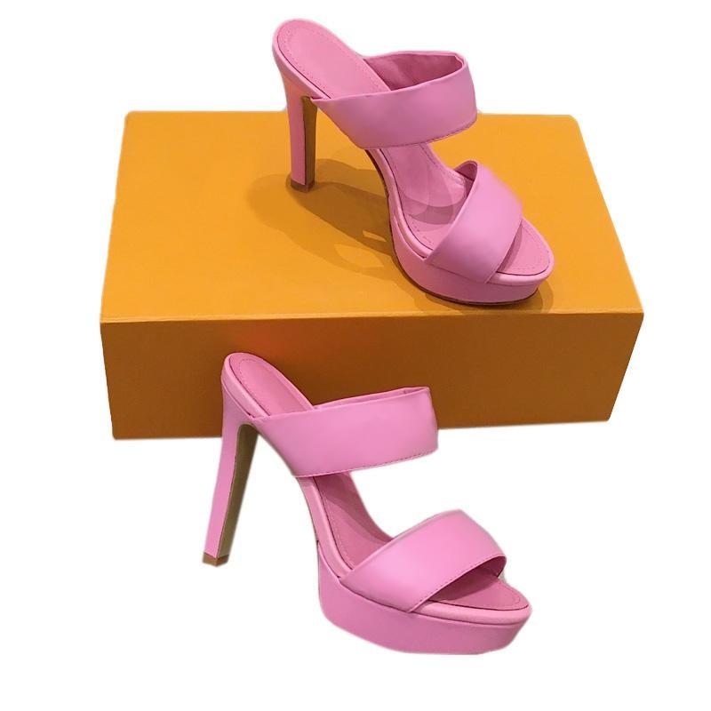 여자 샌들 패션 패션 샌들 최고 품질의 가죽 하이힐 신발 여름 슬라이드 비치 샌들 플랫폼 여성 섹시한 하이힐