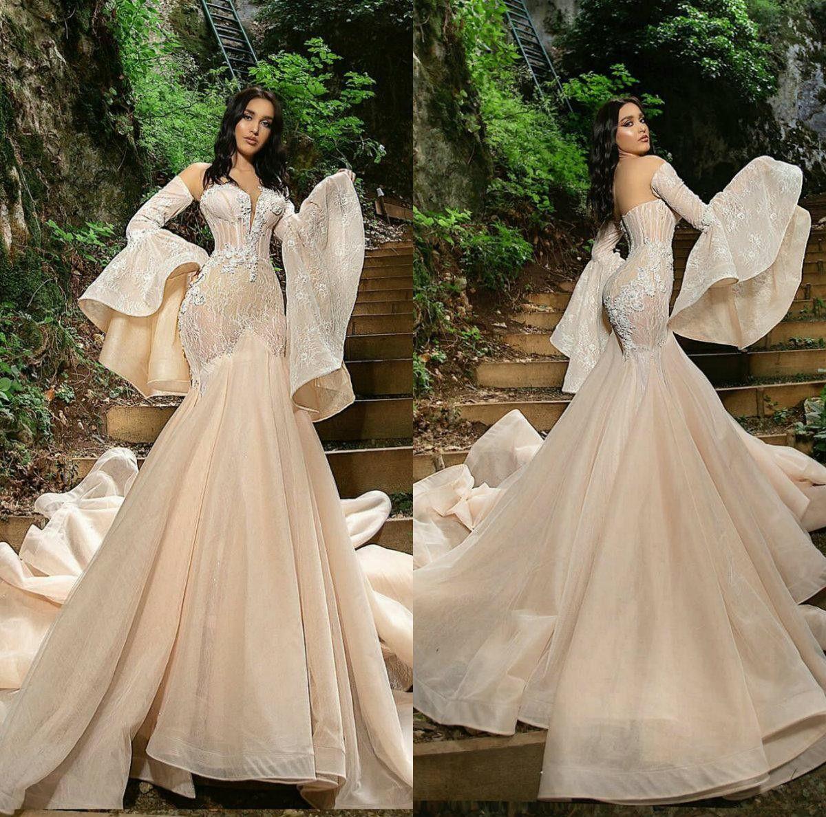 2021 Elegant Wedding Dresses V Neck Long Sleeves Mermaid Bridal Gowns Custom Made Lace Appliques Sweep Train