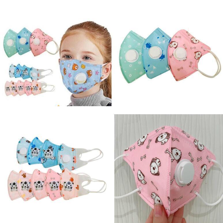 5 capas Kids Mascarillas de cara Dibujos animados de niños con válvula de respiradero Filtro de carbono activo Protector anti-polvo PM2.5 Anti Dust Mask