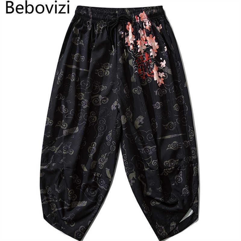 BEBOVIZI Dünne japanische Kimono-Hosen Frauen Männer Samurai Black Harem Hosen Lose Elastische Taille Chinesischen Stil Cosplay Hose X0723