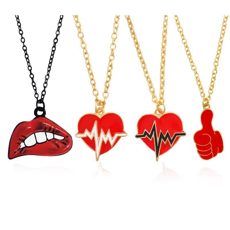 Anhänger Halsketten Sexy Rot Mund Herz Geste Halskette Lippen Heartbeat Daumen Liebe Choker Schmuck Für Liebe Geschenk