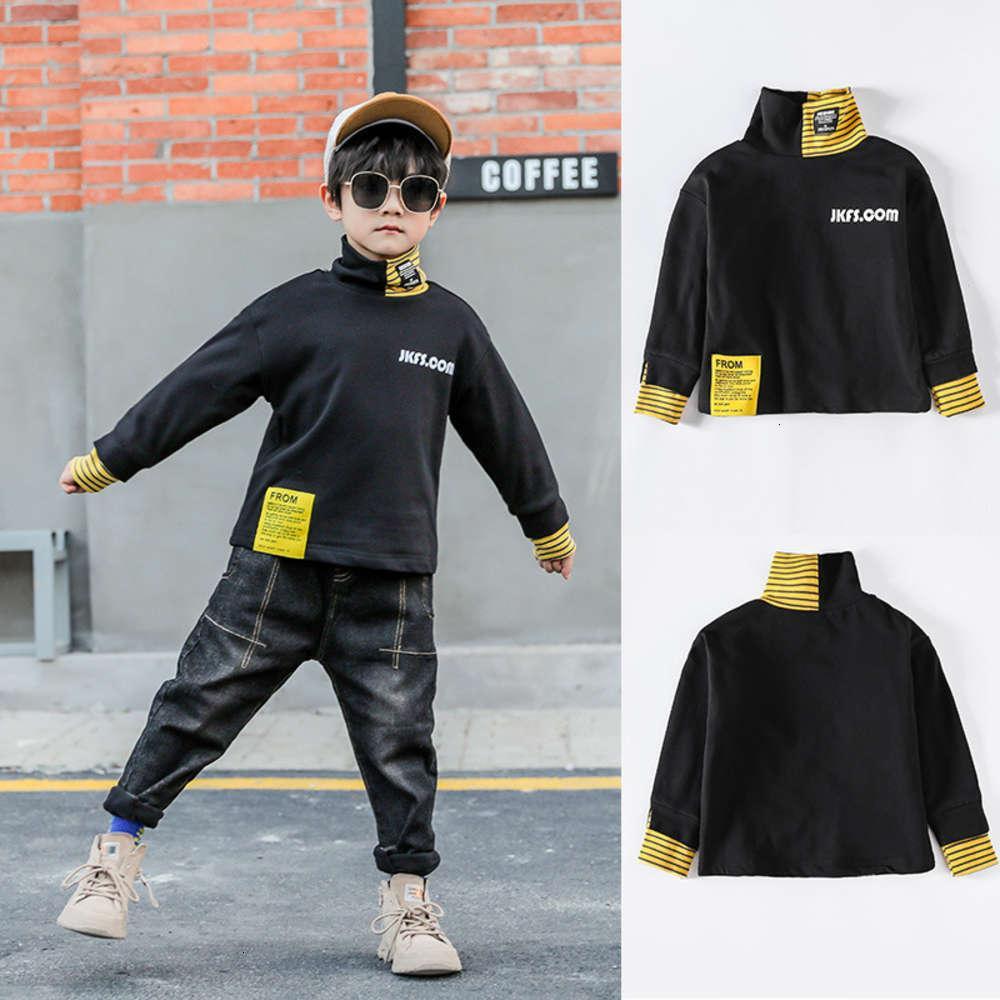 Kids LessAutumn and Winter Base Base Boys 'Zhongda étranger Sle Chemin Veet Long Sve T-shirt Children Collier High High Homme Pull