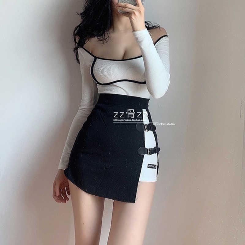 Womengaga Ledertaste Split Unregelmäßige hohe Taille koreanischer Micro-Rock kurze Mini-Röcke Korea sexy Frauen Streetwear MFV0 210603