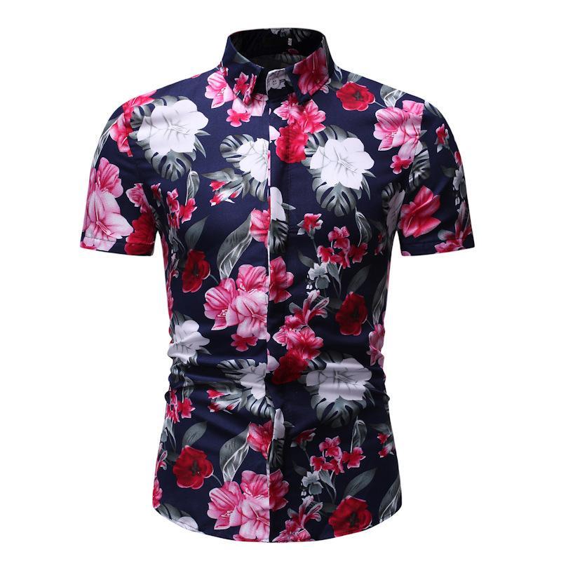 Chemise florale à manches courtes occasionnelle de 2021 été