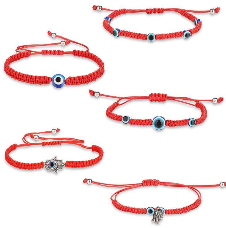 الأزياء الأحمر سلسلة همسة اليد محظوظ الشر الأزرق العين سوار مضفر حبل بوهو مهرجان أنيقة سوار للنساء الفتيات سحر اليد wjl5146