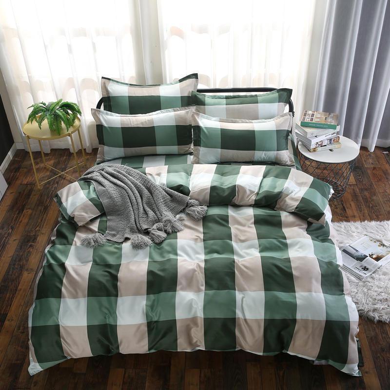 Bettwäsche-Sets 3/4 stücke Einfache Set Mode-Druck Duvet-Abdeckung eingebautes Blatt-Kissenbezug Queenkönig-weiches atmungsaktives Bett