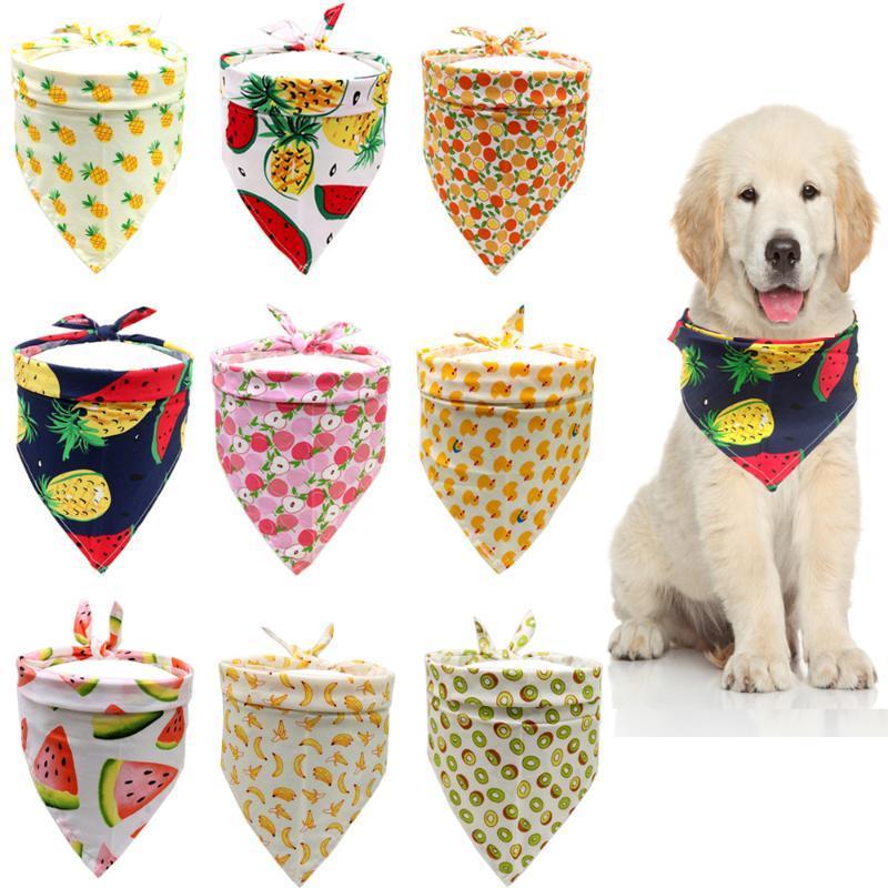 Watermon ananas fruit imprimé chien chien bandana foulard coton réglable coton chiot été hébergement accessoires vêtements