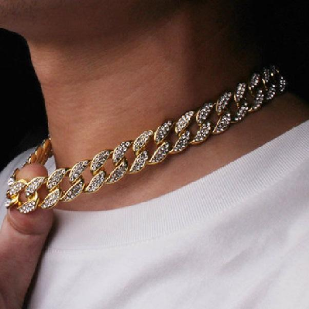 체인 힙합 블링 패션 쥬얼리 망 골드 실버 마이애미 쿠바 링크 체인 목걸이 다이아몬드 chian