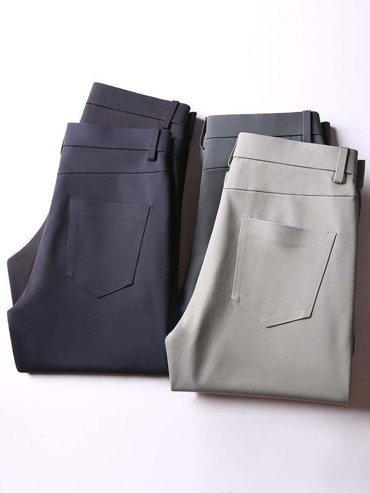 Pantalones de goma de goma de goma de alto nivel de otoño Pantalones de sarga anti-arrugas Elástica Pantalones rectos delgados