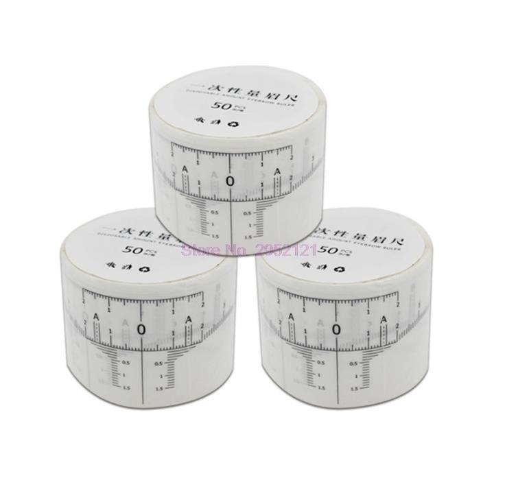 50 pçs 50 pçs / definir maquiagem permanente descartável régua de régua microblading moldar tatuagens medida adesivos tendência sobrancelha