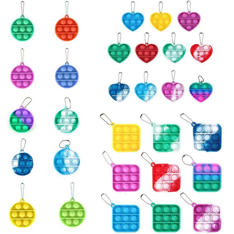 Kostenlose DHL Dekompression Spielzeug Party Zappeln Einfache Grübchen Keychain Push Bubble Pop Gunst Spielzeug Schlüsselanhänger Anti Stress Board