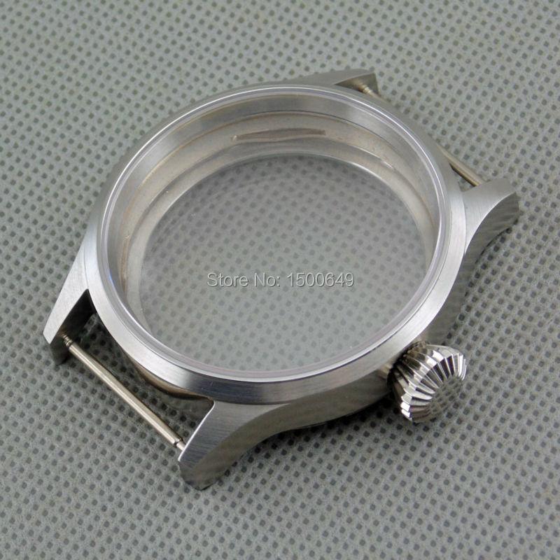 43mm Safir Cam Çelik Fırçalı Kılıf Fit ST3600 ST3620 ETA 6497 6498 Manuel Mekanik Hareketi İzle P212 Saatı