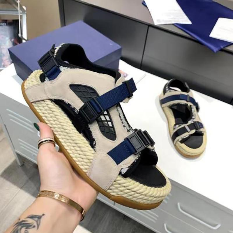 디자이너 Atlas 경사 자카드 샌들 남자 블랙 네오프렌 스웨이드 밀짚 구두 플랫폼 두꺼운 밧줄 신발 조절 밴드 Openwork 컷 아웃 상자와 플랫 샌들