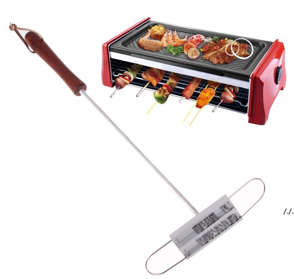 BBQ الشواء أدوات الحديد العلامة التجارية مع قابلة للتغيير 55 خطابات النار وصفت بصمة الأبجدية الملمينوم الطبخ في الهواء الطلق لتلقي اللحوم DWA6341