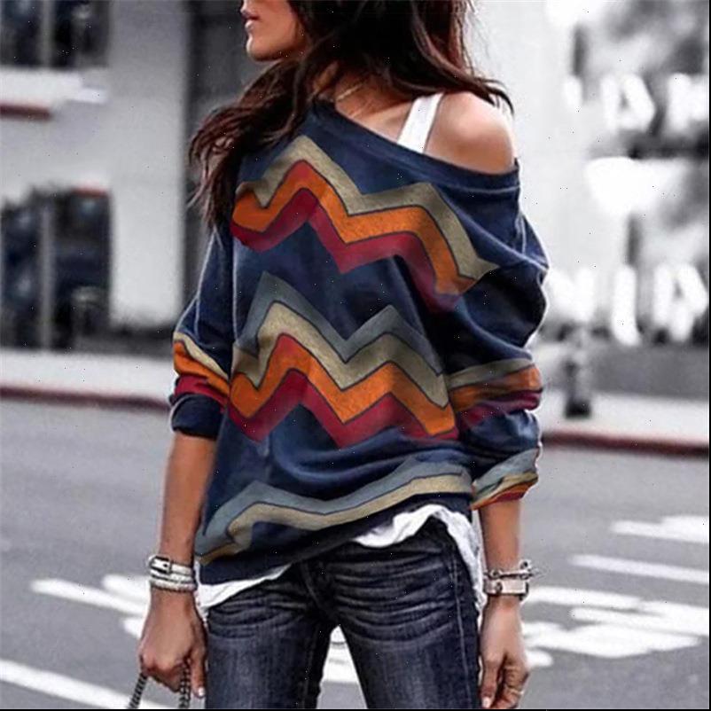 섹시한 웨이브 오프 숄더 여성 셔츠 긴 소매 얇은 느슨한 스웨터 Boho 인쇄 탑 니트 풀오버 블러스 카메라 Mujer