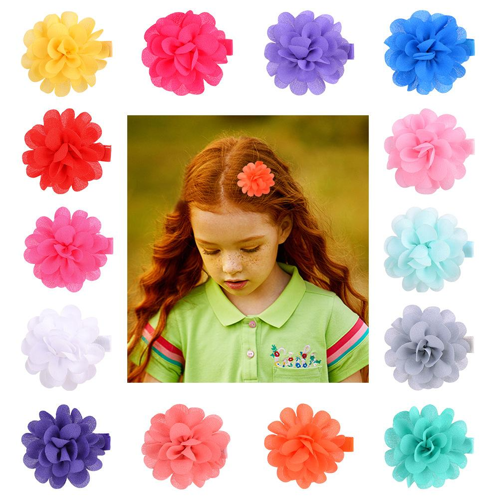 Baby Girls Hairpins Hair Clips Chiffon Flower with Grosgrain Ribbon Clip Barrette Children Kids Safety whole wrapped headwear Accessories KFJ350
