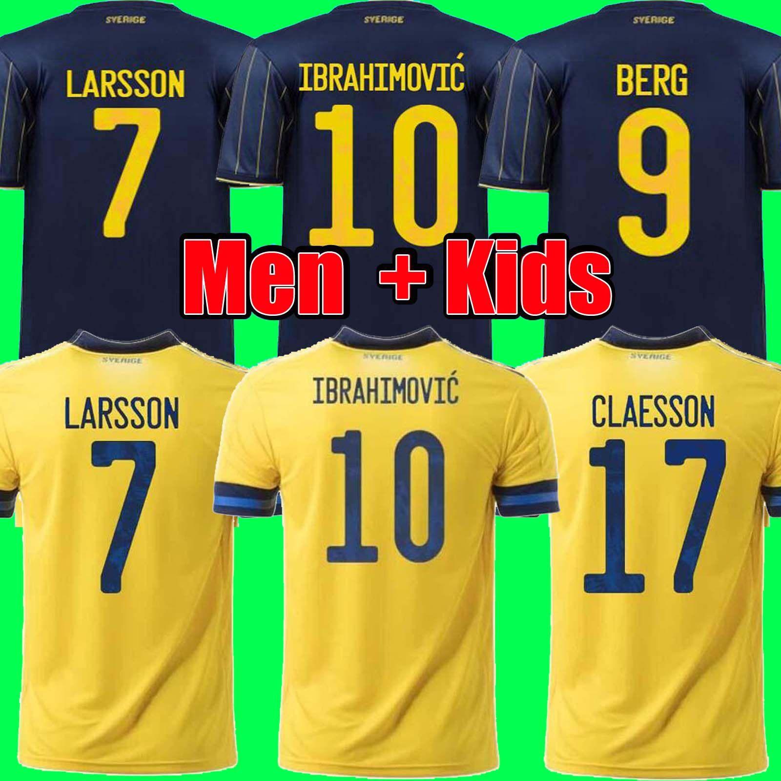Uomini bambini 2021 Svezia soccer Jersey 21 22 Home away Ibrahimovic KULUSEVSKI BERG FORSBERG LARSSON TANKOVIC ISAK CLAESSON maglia da calcio