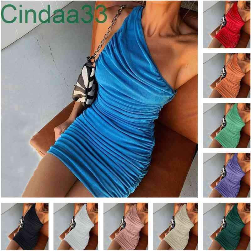 Kadın Elbise Tasarımcısı Ince Seksi Katı Renk Eğilim Eğlenceli Omuz Kolsuz Pileli Elbiseler Kalça Etek 10 Renkler