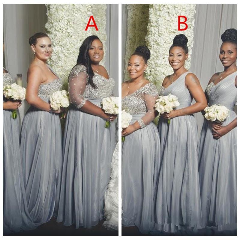 2021 블링 블링 아랍어 신부 들러리 드레스 긴 공식적인 드레스 겸손한 하녀의 명예 파티 가운 한 숄더 페이스트 Sequinessexy