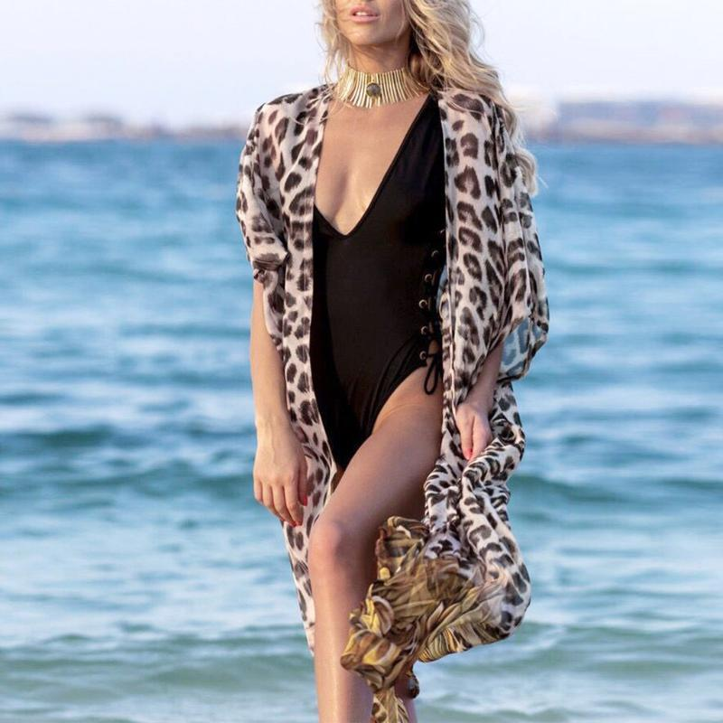 Damen Badebekleidung Strand Tragen Bikini Cover Up Leopard Print Chiffon Kimono Lange Cardigan Bluse Schal Tops Outwear Pareo