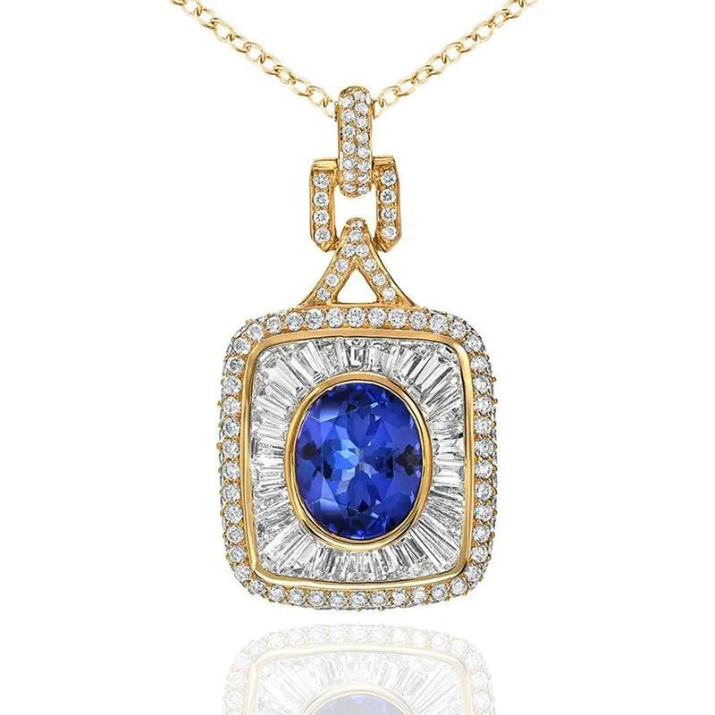Collares colgantes Ly Color de oro Color de la mujer Collar de compromiso azul CZ encanto Noble Lady Tarde Party Accesorios Regalo Joyería de Lujo