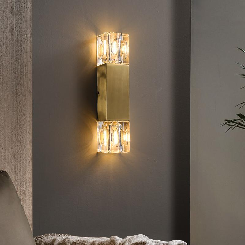 현대 모든 구리 크리스탈 벽 램프 거실 침실 침대 옆 북유럽 럭셔리 LED 라이트 골드 배경 G9 Sconce